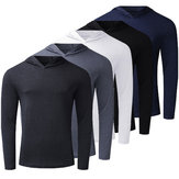 [FROM ] Men's Long Sleeve Lightweight Hoodies Pullover Sweatshirts Tee Shirts Cotton V Neck Tops Tracksuit