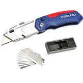 WORKPRO W011017N Folding Utility Kni-fe Safety Box Cutter with 13pcs Blades Included Multi Tools