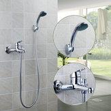 Mélangeur fixé au mur de robinet de douche de baignoire de salle de bains de chrome avec le pulvérisateur de main