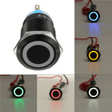 12V 19mm Zelfvergrendelende Push Button Switch Ring LED Flat Head 5 Pins Waterdichte Switch
