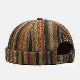Összehúzott unisex kontraszt színű csíkok mintás hétköznapi személyiség karimás sapka pipa földesúr kalap koponya sapka