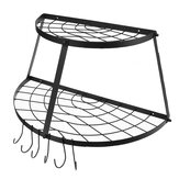 2-Tier Pot Pan Rack for Ceiling W/ Hooks Decorative Oval Mounted Mounted