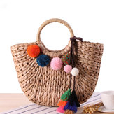 Straw Hairball Tassel Summer Beach Bag Handtas voor dames