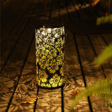 LED Solar Lantern Hanging Light with Handle Solar Lantern Waterproof Landscape Lantern Chrysanthemum Shadow Light for Outdoor Garden Hollow
