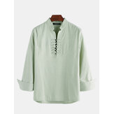 Mens Cotton Linen Ethnic Oriental Stand Collar Long Sleeve Henley Shirts