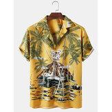 Мужские тропические Растение с принтом Revere воротник Свободные повседневные рубашки с коротким рукавом