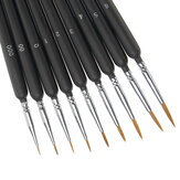 9Pcs Painting Brushes Hook Line Pens Wolf Tail Hair Brush School Office Art Supplies