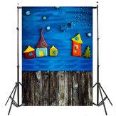 3x5FT Child Blue Sky Funny House Photography Backdrop Photo Studio Background