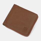 Men Genuine Leather RFID Blocking Anti-theft Zipper Retro Cowhide Card Holder Wallet