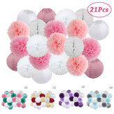 21pcs/set Round Paper Lantern For Boy Girl Baptism Wedding Holloween Party Decorations Hanging Paper Crafts