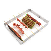 Portable Barbecue BBQ Rack Stainless Steel Skewer Meat Foods Grill Camping Tool