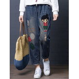 Cartoon Embroidery Hollow Drawstring Waist Denim Jeans