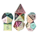 7Pcs Colorful Polyhedral Dice Resin Chapeamento Dices Set Role Playing Board Partido Jogo de mesa Presente