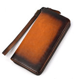 Men Genuine Leather Long Zipper Phone bag Wallet