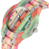 Deffrun Bamboo Colorful Couple Watch Unique Design De madeira Qu