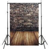 5x7FTビニールブラウンレンガ壁ウッドフロア写真背景背景スタジオプロップ