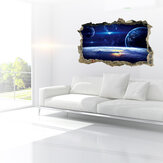 MIICO Creative 3D Universe Planet Broken Wall Verwijderbare Home Room Decoratieve muur Decor Sticker