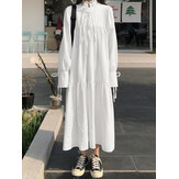 Lace-Up High Neck Puff Sleeve Casual Solid Color Maxi Shirt Dress