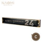 NAOMI 24 otwory Tremolo Harmonijka Klucz harmonijki ustnej ze stali nierdzewnej C z obudową