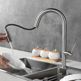 Brushed 304 Stainless Steel Pull Out Faucet Kitchen Sink Washbasin Hot And Cold Water Mixing Tank Tap