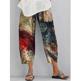 Vintage Floral Print Elástico Cintura Irregular Dobladillo Casual Bolsillo Pantalones Para Mujer