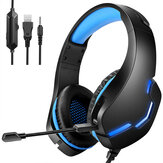 J10 Gaming Headset 3.5mm+USB 40mm Drive Wired Stereo RGB Game Headphone with Mic LED Light for Computer PC Gamer
