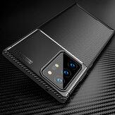 Bakeey Luxury Carbon Fiber Padrão com Lens Protector Shockproof Silicone Protetor Caso para Samsung Galaxy Note 20 Ultra / Galaxy Note20 Ultra 5G