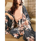 Women Floral Print Sleeveless Tops Bow Wide Leg Pants Home Pajama Set With Long Sleeve Robes