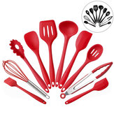 10PCS Silicone Kitchen Utensils Kitchenware Set Tableware Cooking Tools with Non-Stick Cookware Pan Scoops