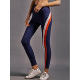 Women Rainbow Stripe High Elastic Waist Running Leggings