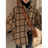 Camicie vintage calde a maniche lunghe con risvolto stampa scozzese da donna