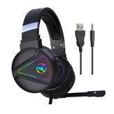 HXSJ F16 zestaw słuchawkowy do gier gniazdo 3,5 mm 50 mm jednostka dźwiękowa słuchawki do gier z oświetleniem rgb z mikrofonem z redukcją szumów do PS4 komputer PC Gamer