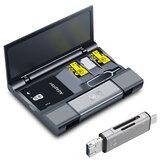 KawauLargeKapazitätKartenbox+Typ-c USB 3.0 Micro USB-Kartenleser + Eject Pin-Schlüssel für Handy-Tablet