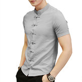 Chinese Knot Buckle Vintage Chic Mandarin Collar Men Shirts