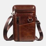 Men Genuine Leather 6.5 Inch Phone Bag Holder Belt Bag Waist Bag Crossbody Bag Shoulder Bag