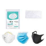 BIKIGHT 100Pcs Boca descartável Máscara Almofada PM2.5 Almofada de proteção do filtro Rosto confortável e respirável Máscara Tapete de filtro