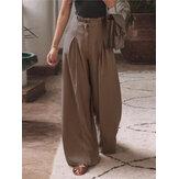 Женские хлопковые складки с эластичной талией, свободные, повседневные, с широкими штанинами, Брюки, с боковыми карманами