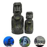 2pcs resina Isola di Pasqua statue set Fish Tank acquario ornamento decorazione