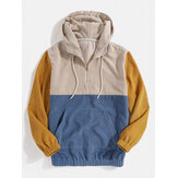 Mens Corduroy Patchwork Kangaroo Pocket Bodycon Hem Drawstring Hoodies