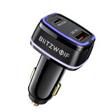 BlitzWolf® BW-SD8 118W 2-Ports 100W USB-C PD3.0 + 18W QC3.0 USB Car Charger Adapter Support AFC FCP SCP VOOC Fast Charging With LED Atmosphere Light for iPhone 12 12 Mini 12 Pro Max for Samsung Galaxy Note 20 Huawei Mate 40 OnePlus 9 Pro