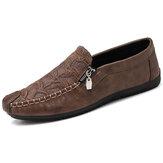 Мужские повседневные туфли на плоской подошве из микрофибры с боковыми складками на молнии