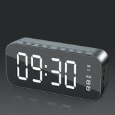 Wireless bluetooth Speaker Mini LED Double Alarm Clock FM Radio TF Card AUX Soundbar Subwoofer with Mic