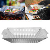 BBQ Grill Basket Stainless Steel Vegetables Meat Barbecue Pan Dishes Outdoor Camping Picnic Tableware Tools