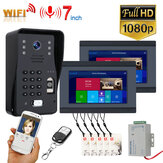 ENNIO SY709B710BMJLP12 2 Monitors 7 inch Wifi Wireless Video Door Phone Doorbell Intercom System with Wired Fingerprint RFID AHD 1080P Door Access Control System