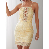 Elegant Embroidered Hollow Out Halter Neck Backless Party Bodycon Gold Mini Dress