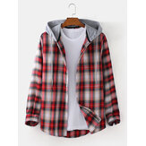 Herren Plaid Curved Hem Langarm Relaxed Fit Drawstring Hooded Shirts