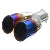 63 milímetros Universal Car Rear Dual Air-Outlet Tubo de escape Bluing Tail Muffler Tip
