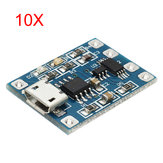 10Pcs Micro USB TP4056 Charge And Discharge Protection Module Over Current Over Voltage Protection 18650