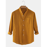 Mens Cotton & Line Solid Color Thin Casual Long Sleeve Shirts With Pocket