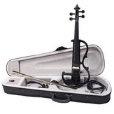 Black 4/4 Full Size Electric Violin Student Fiddle Case Bow Headphone Cable Set
